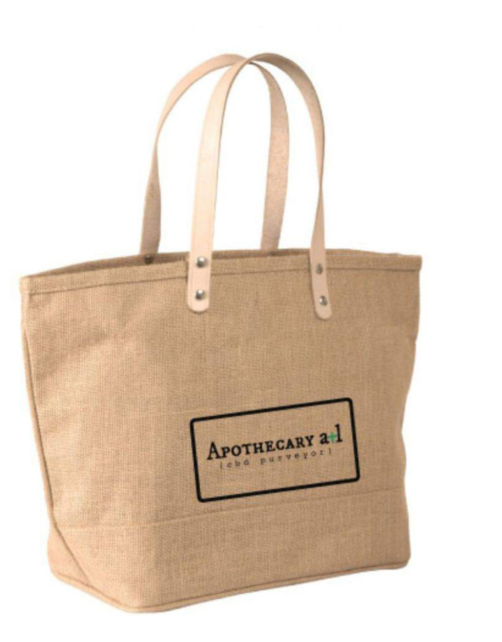 Jute Tote Bag Leather Handles