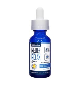 CBDistillery CBDistillery Full Spectrum Tincture Relief and Relax 500mg CBD 500mg CBG 1oz