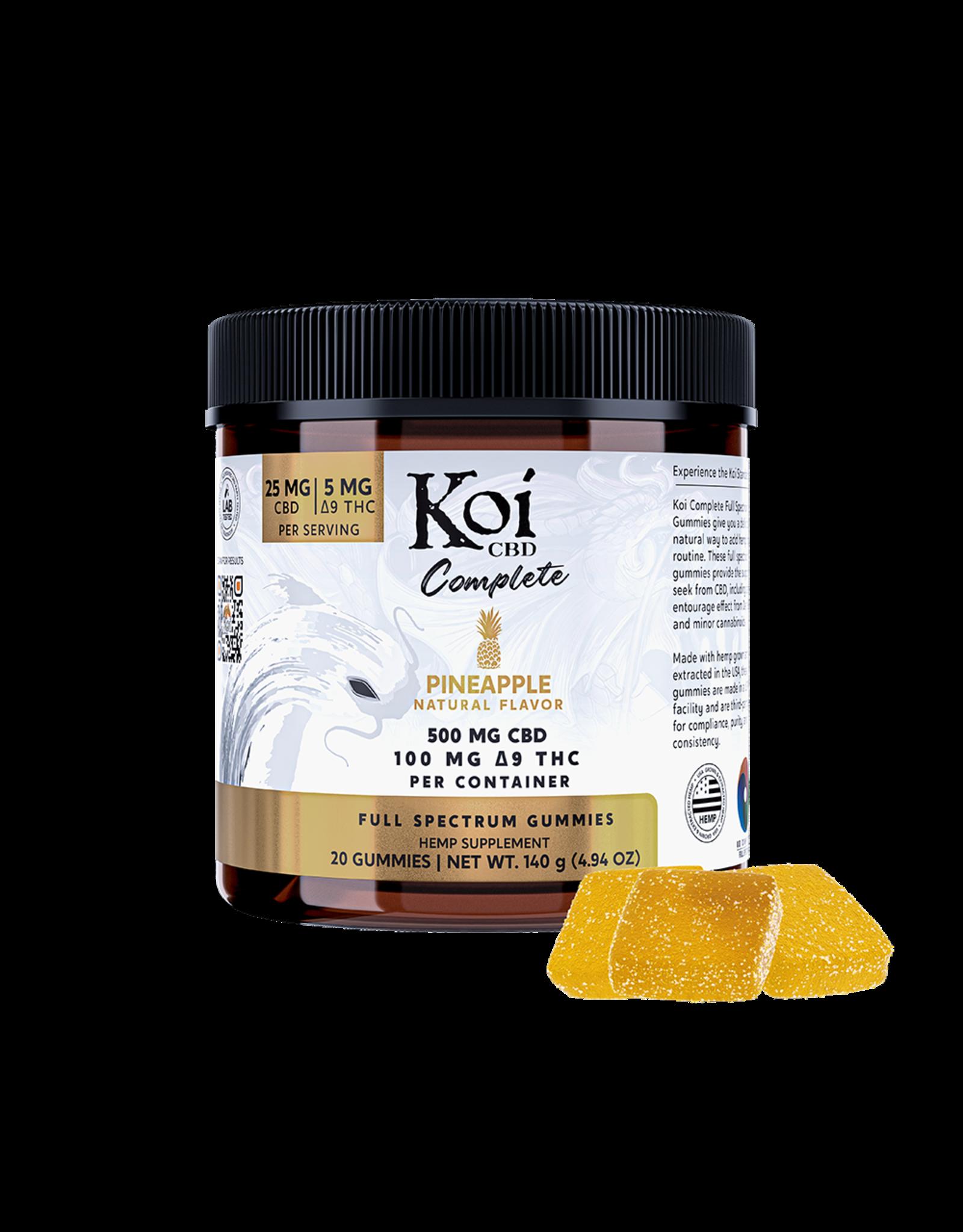 Koi Koi CBD Pineapple Gummies 25mg 5mg Delta 9 THC and 20ct