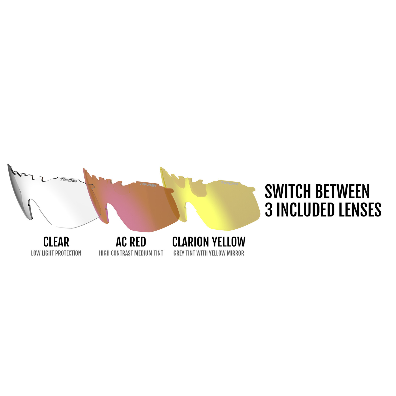 Tifosi Optics Tifosi Sledge, Crystal Red Interchangeable Sunglasses - Clarion Yellow/AC Red/Clear