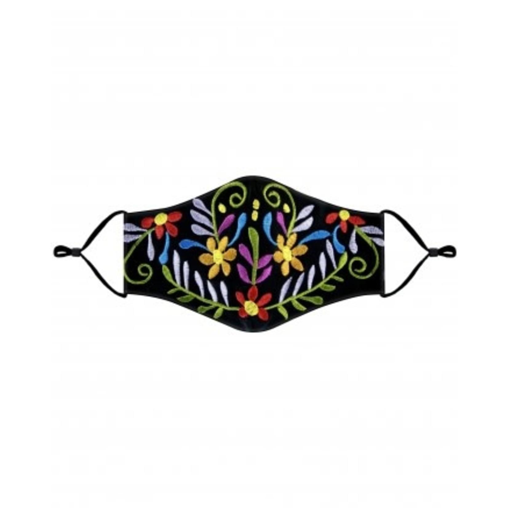 Embroidered black mask