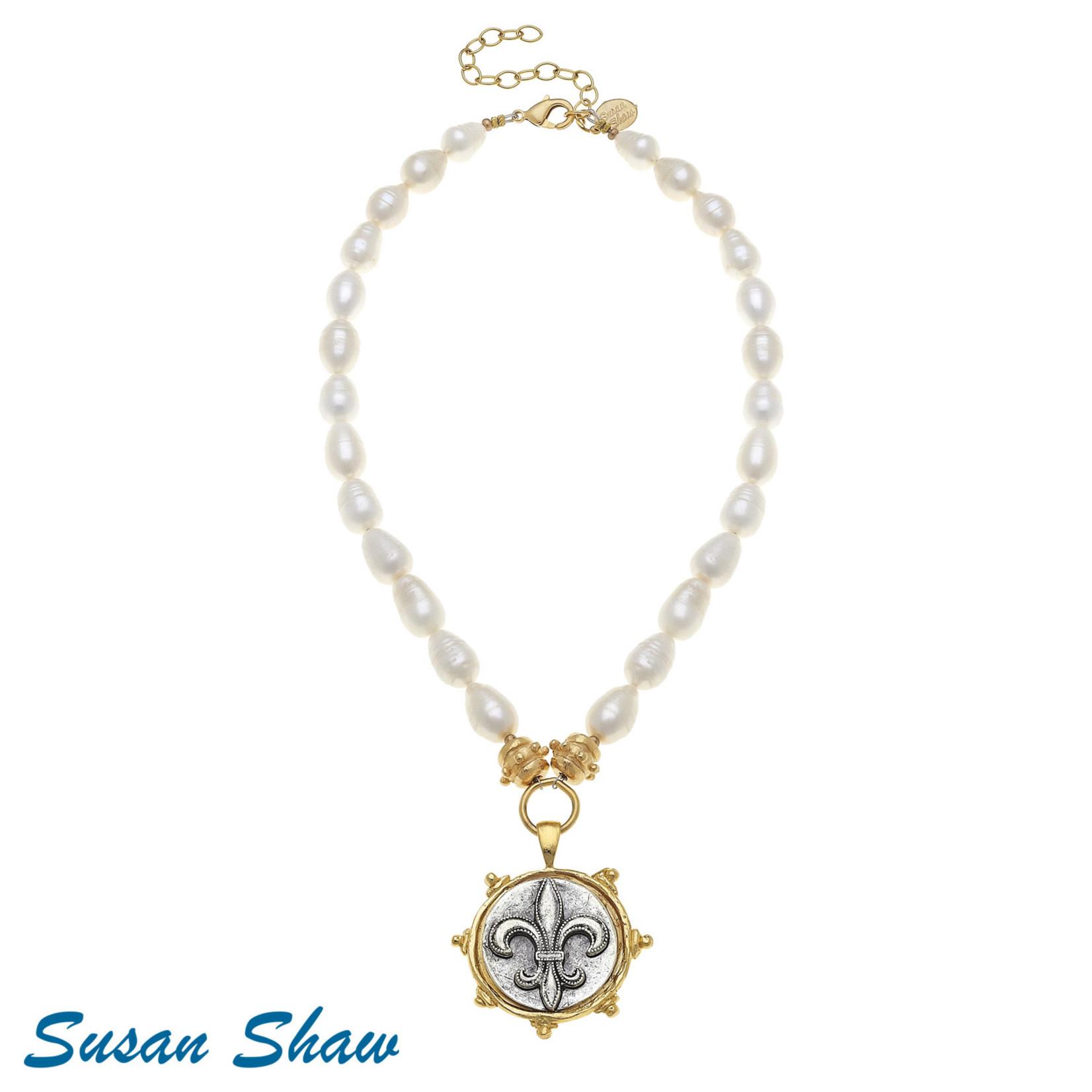 Susan Shaw Susan Shaw Fleur de Lis Pearl Drop Necklace