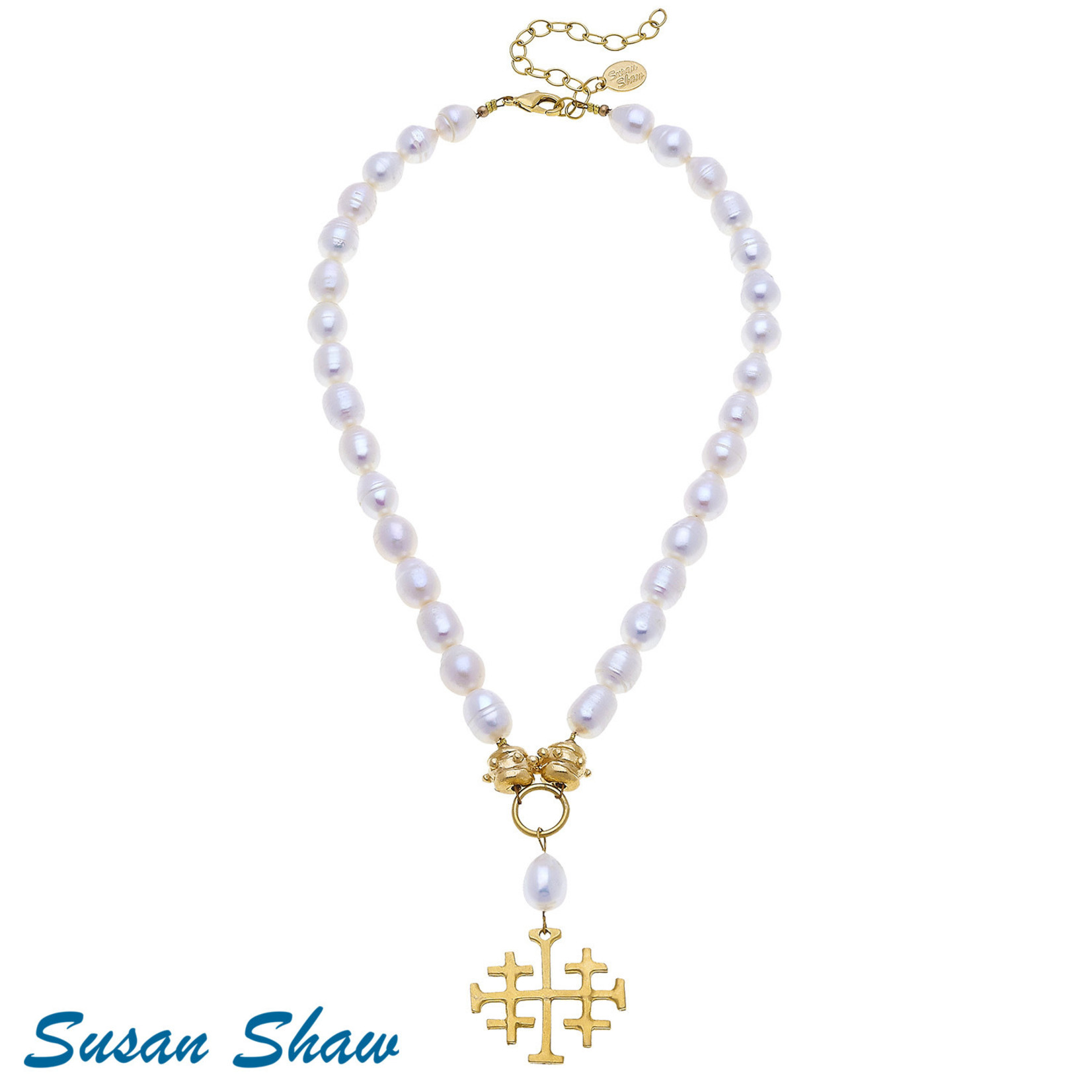 Susan Shaw Susan Shaw Cross on Pearl Necklace