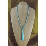 Casuals Fairhope Long Turquoise Bead Necklace with Tassel