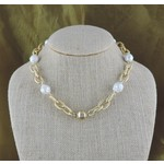 "Casuals Fairhope 16"" Gold Link and Baroque Pearl Necklace with Magnetic Clasp"