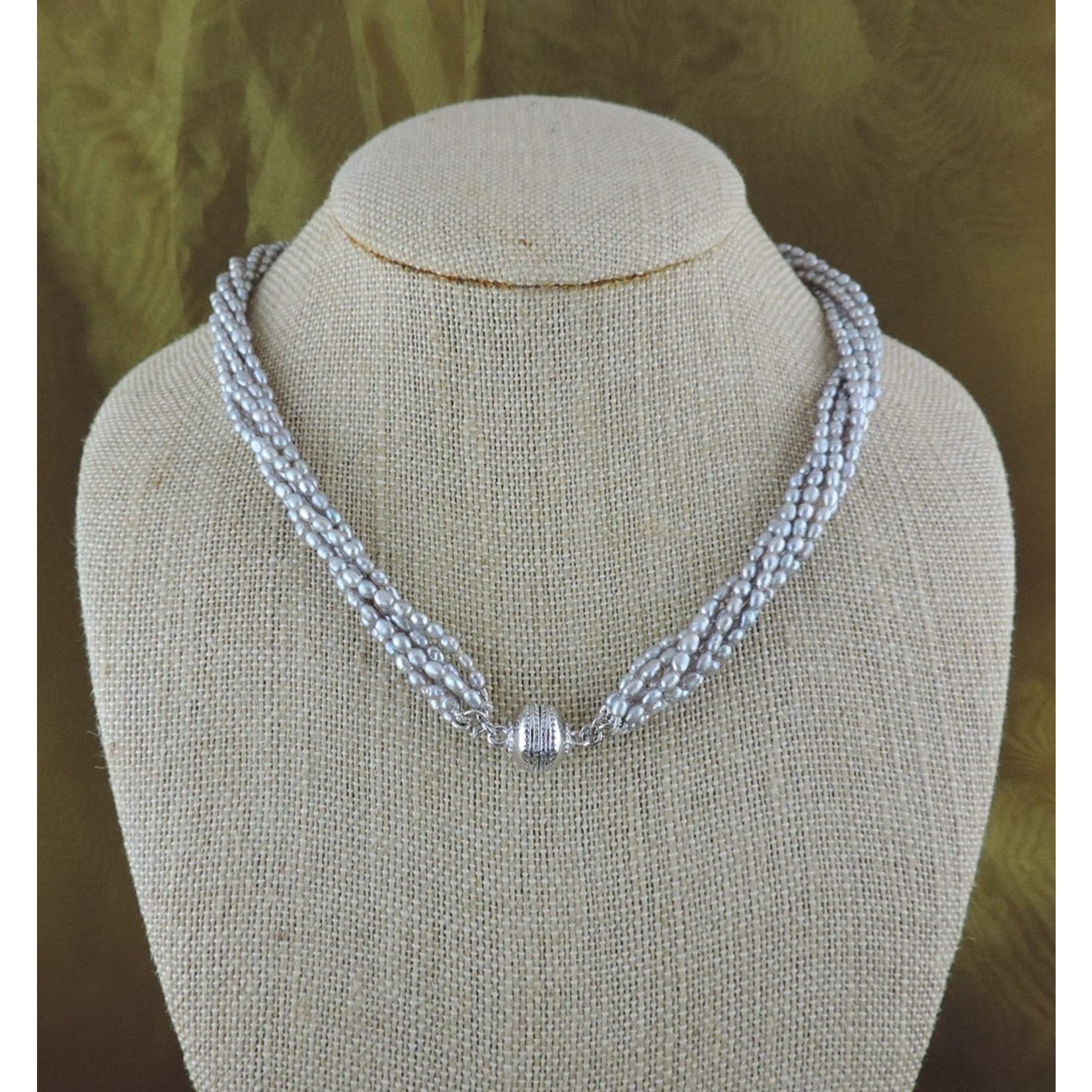 Casuals Fairhope 6 Strand Silver Seed Pearl Magnetic Necklace