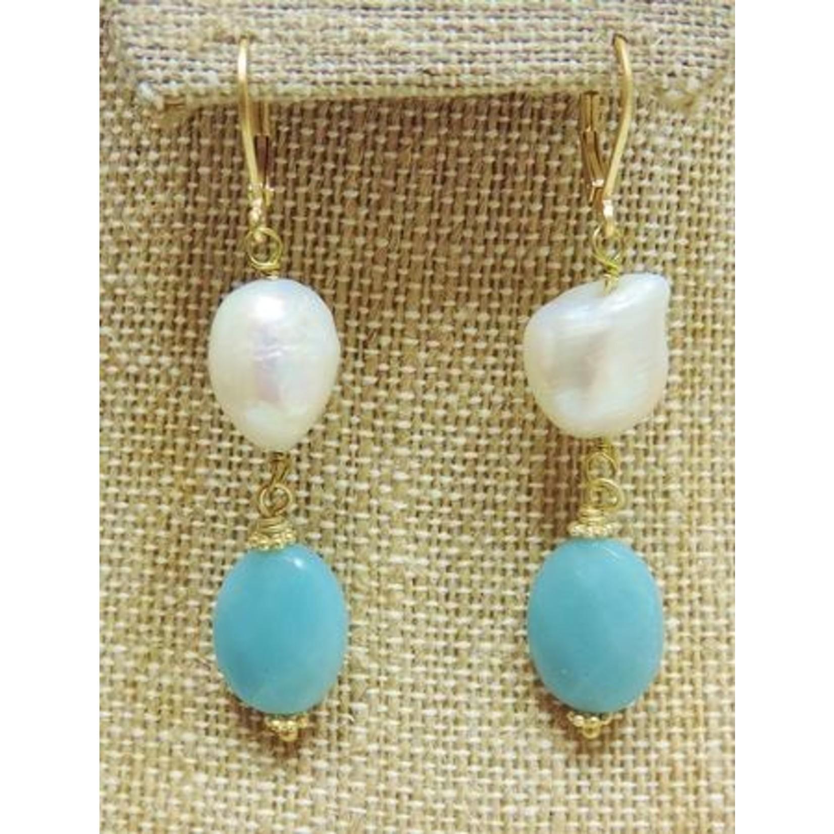 Casuals Fairhope Pearl Amazonite Earring