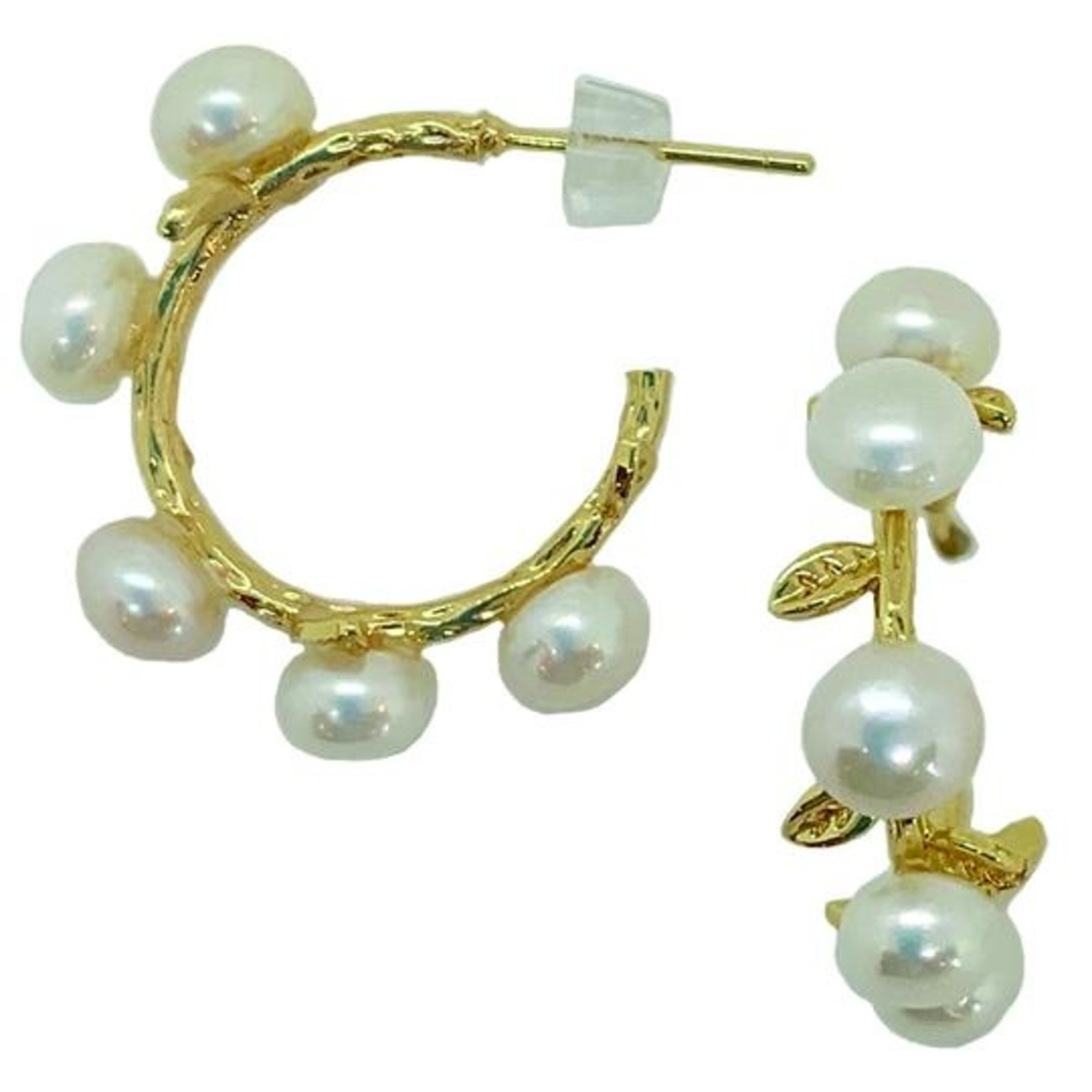 Girl With a Pearl Hoop Pearl & Leaf Earring