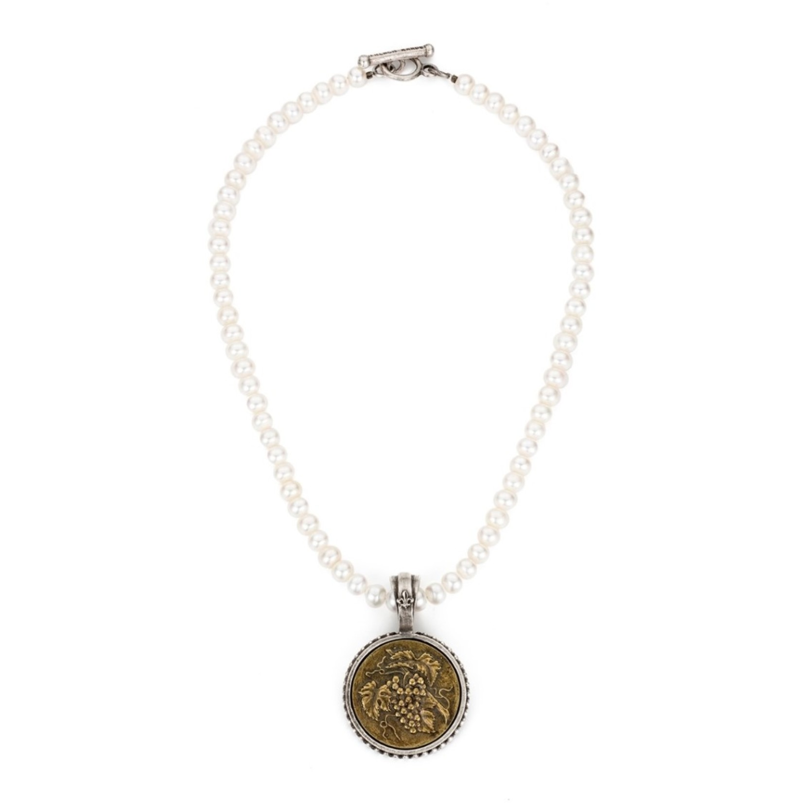 French Kande Pearl Necklace with Grape Medallion