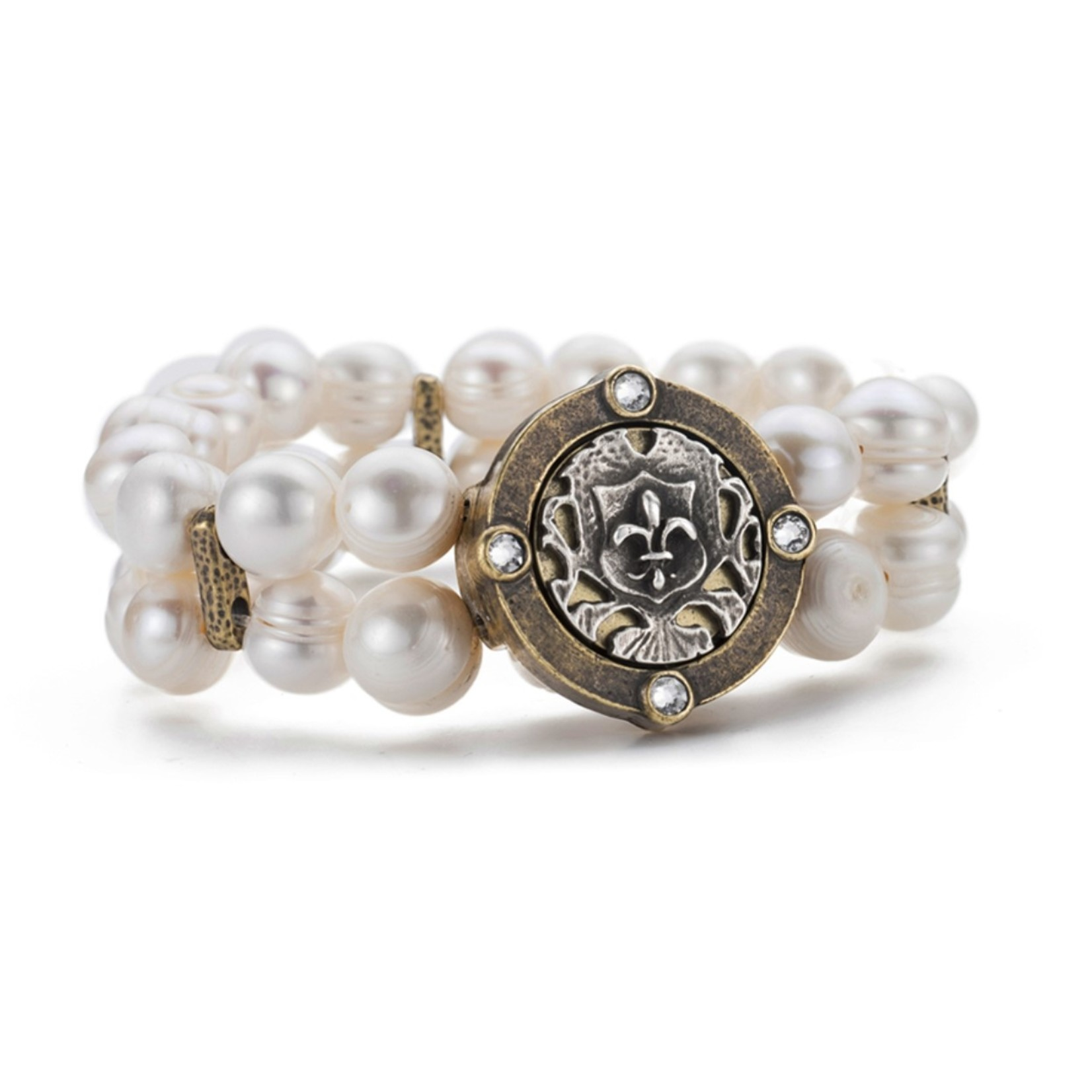 French Kande Double Pearl Bracelet with Fleur Medallion