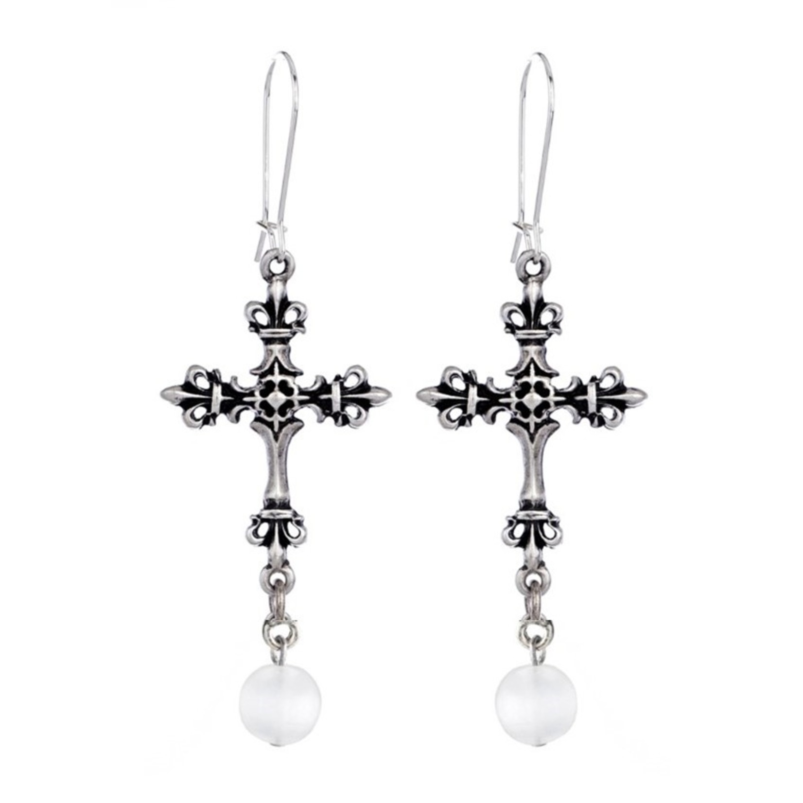 French Kande Pearl Cross Earring