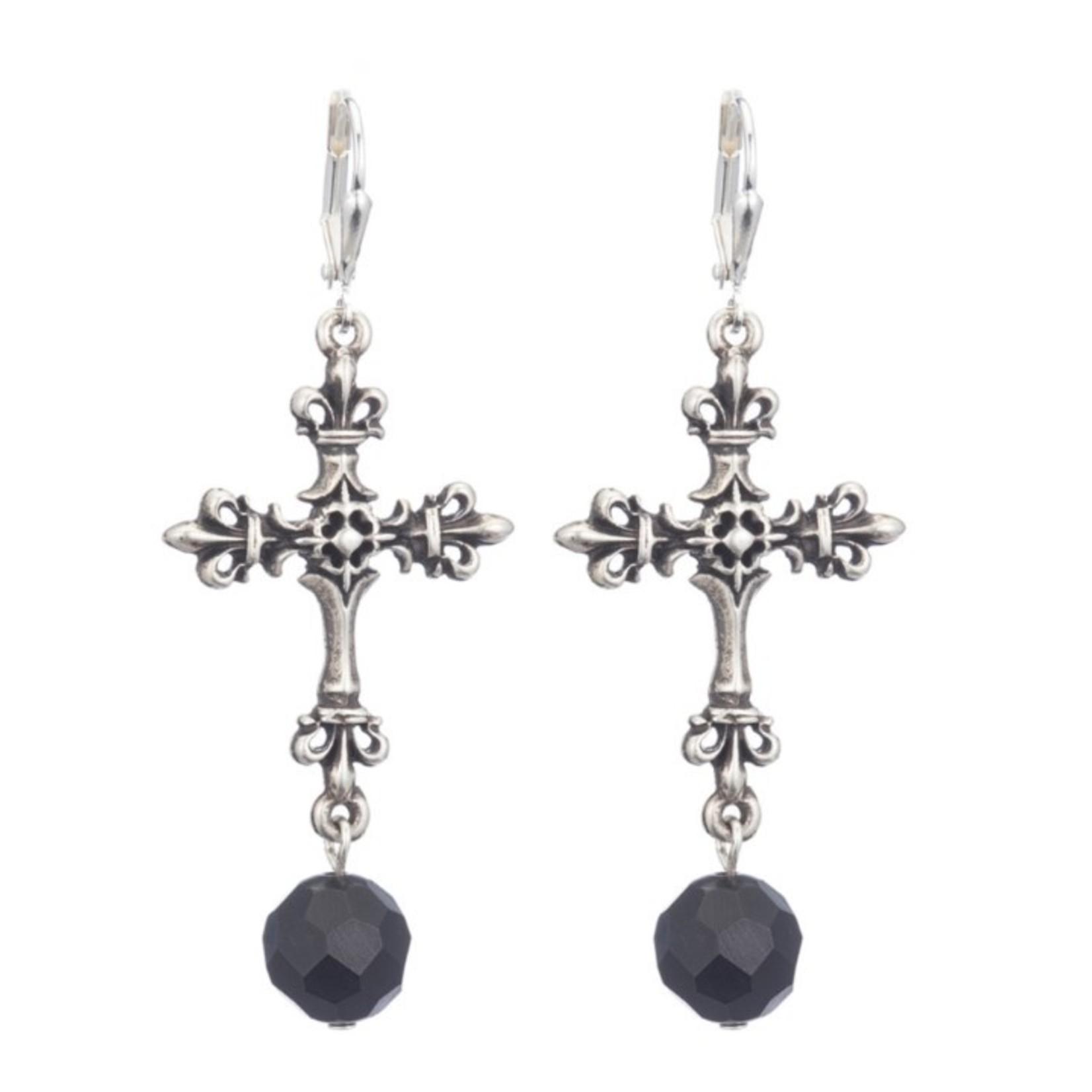 French Kande Onyx Cross Earring