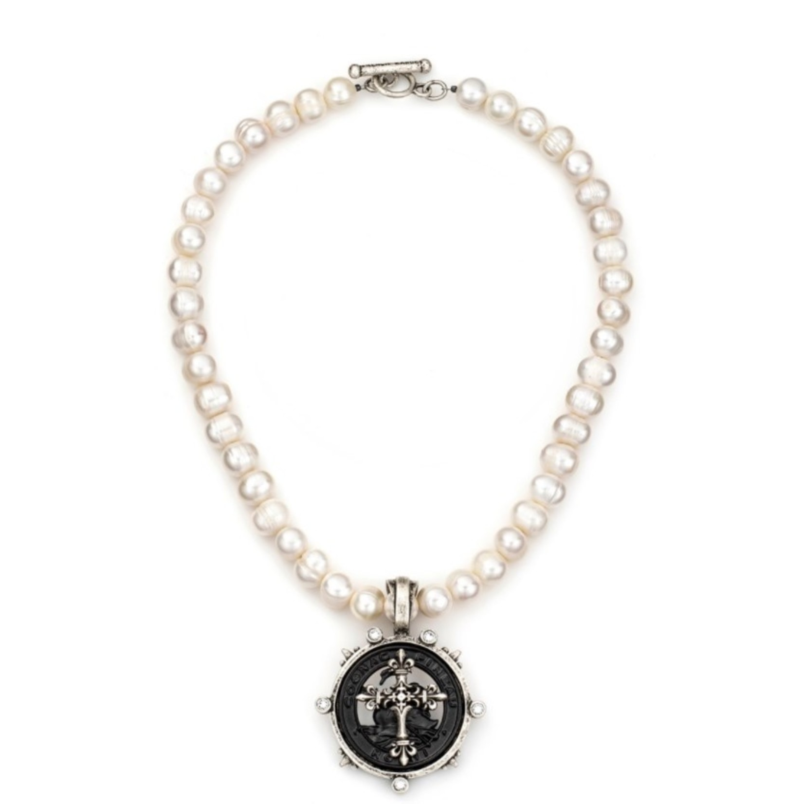 French Kande Pearl Necklace with Cross Medallion