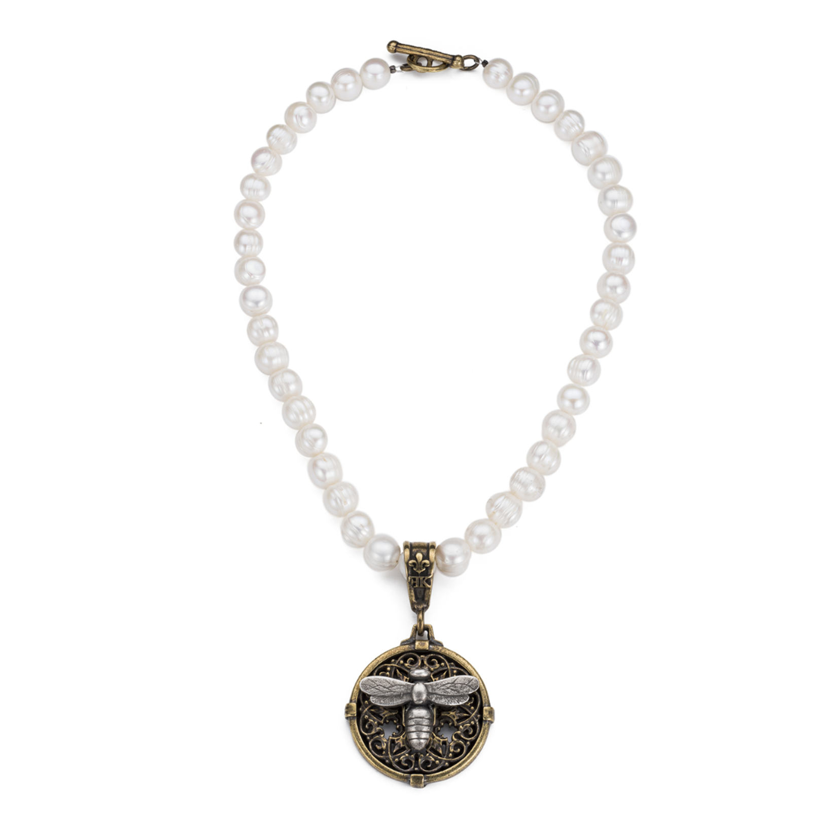 French Kande Pearl Necklace with Bee Medallion