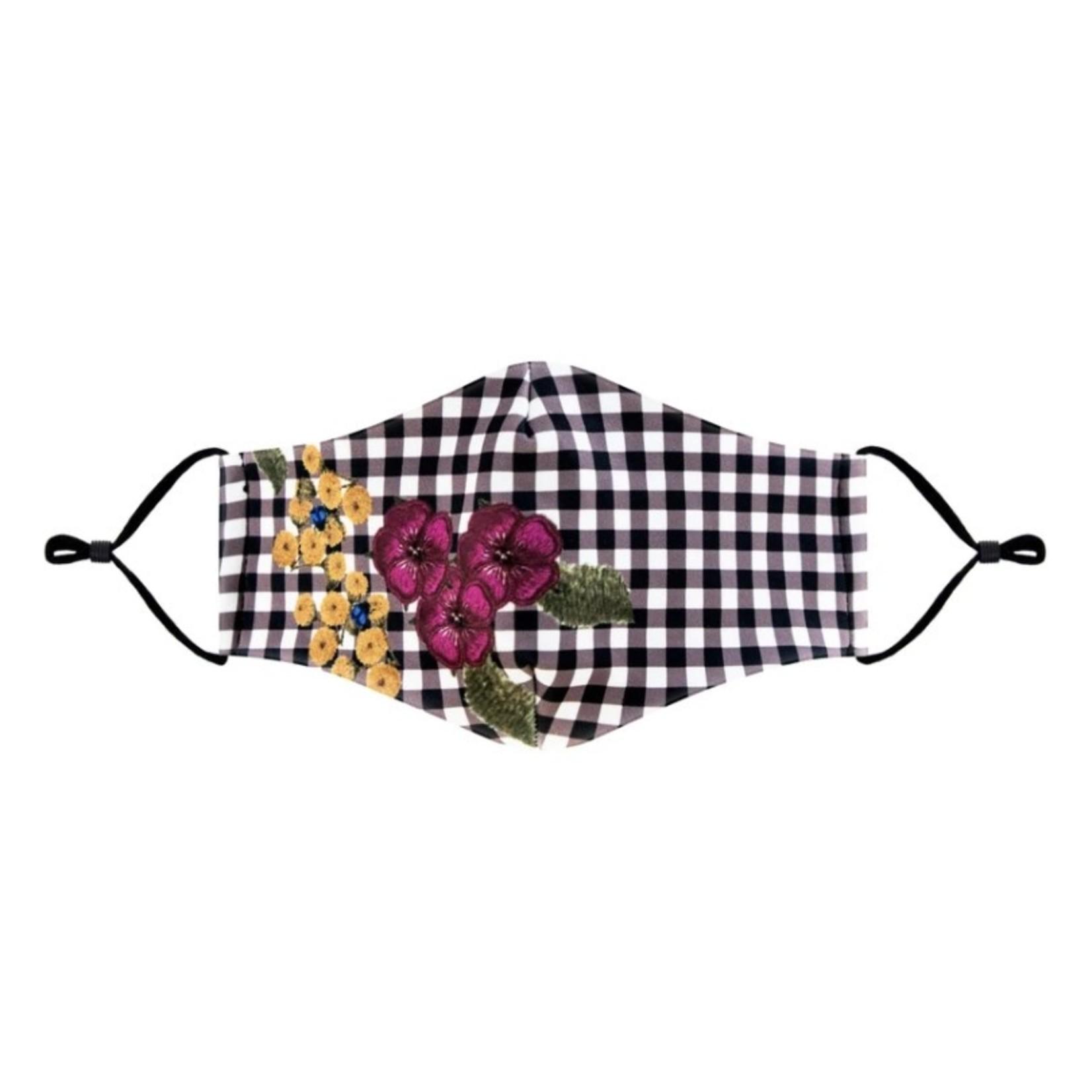 Plaid w flower face mask