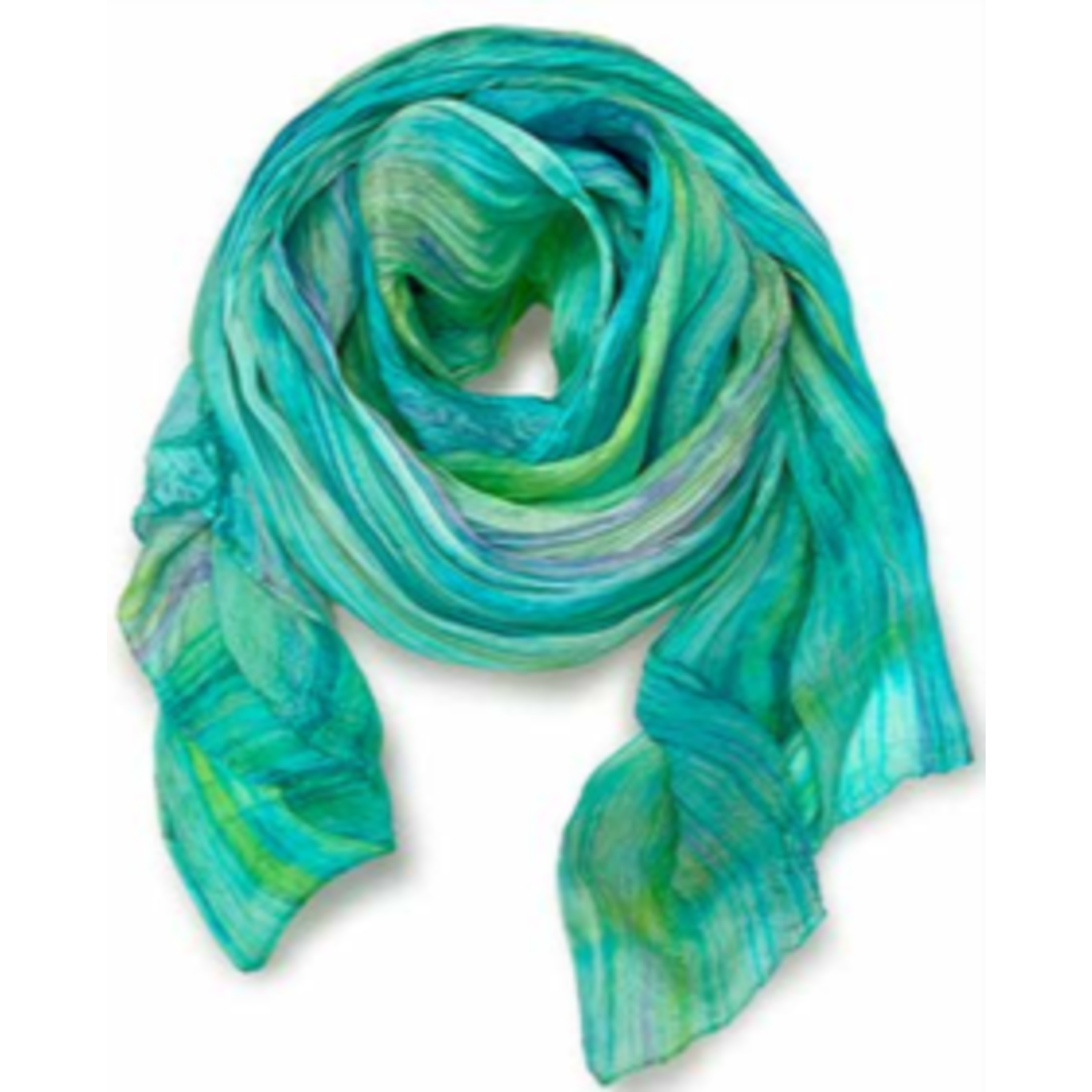 Casuals Fairhope Watercolor Silk Scarf aqua/laven