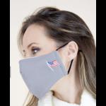 Grey cloth mask w flag