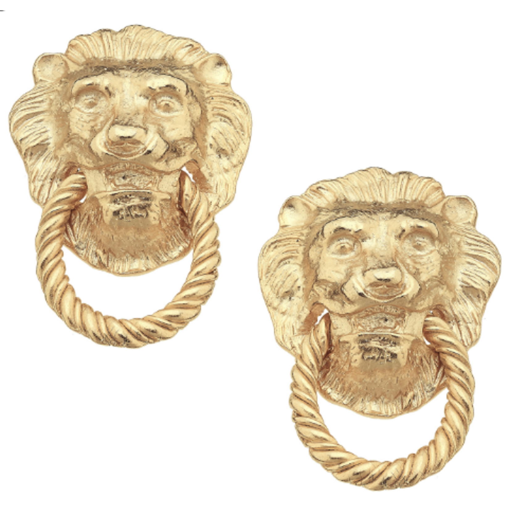 Susan Shaw Susan Shaw Gold Lion Head & Knocker Earrings