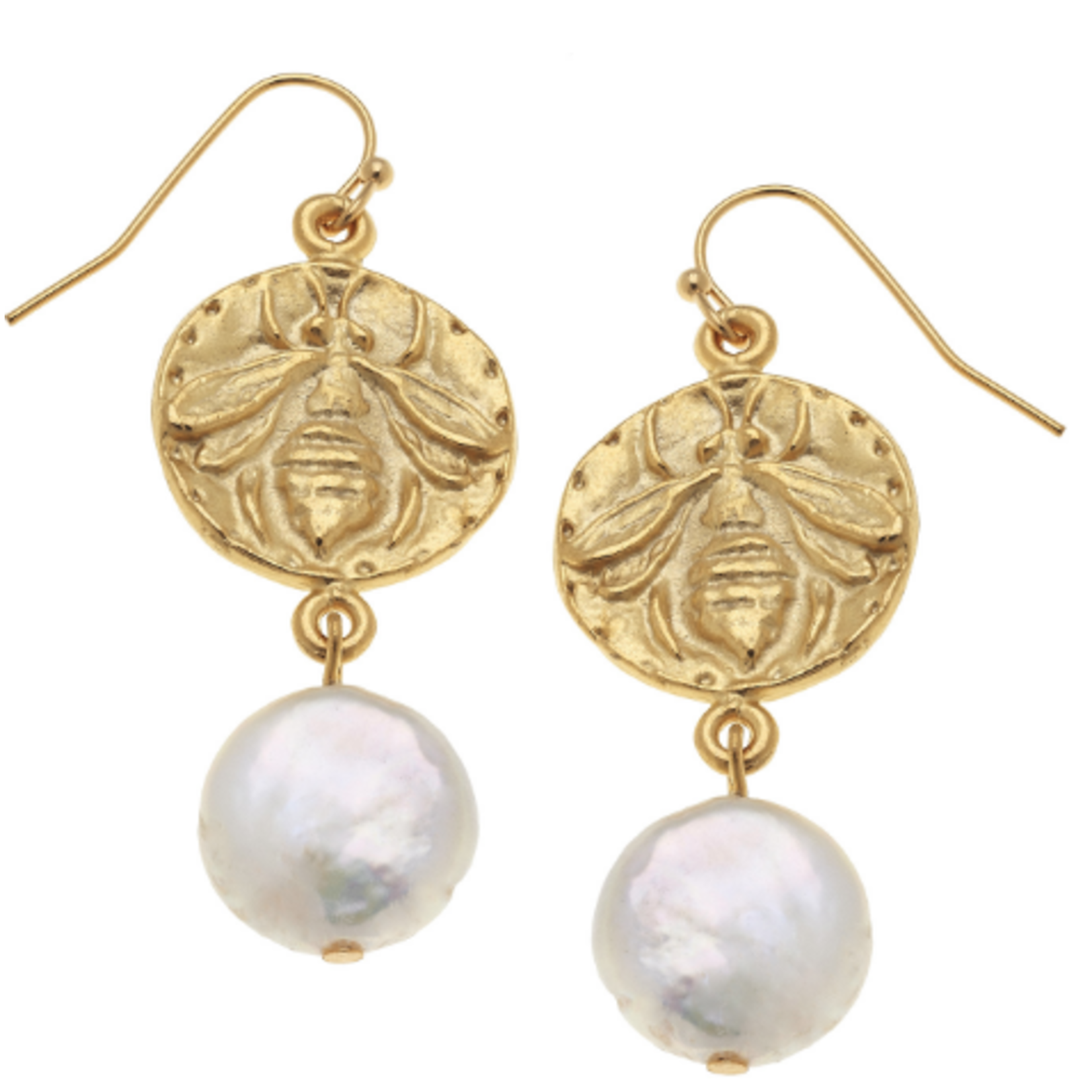 Susan Shaw Susan Shaw Gold Bee and Pearl Earrings