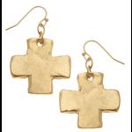 Susan Shaw Susan Shaw Gold Cross Earrings