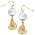Susan Shaw Susan Shaw Gold  Shell with Pearl Earrings