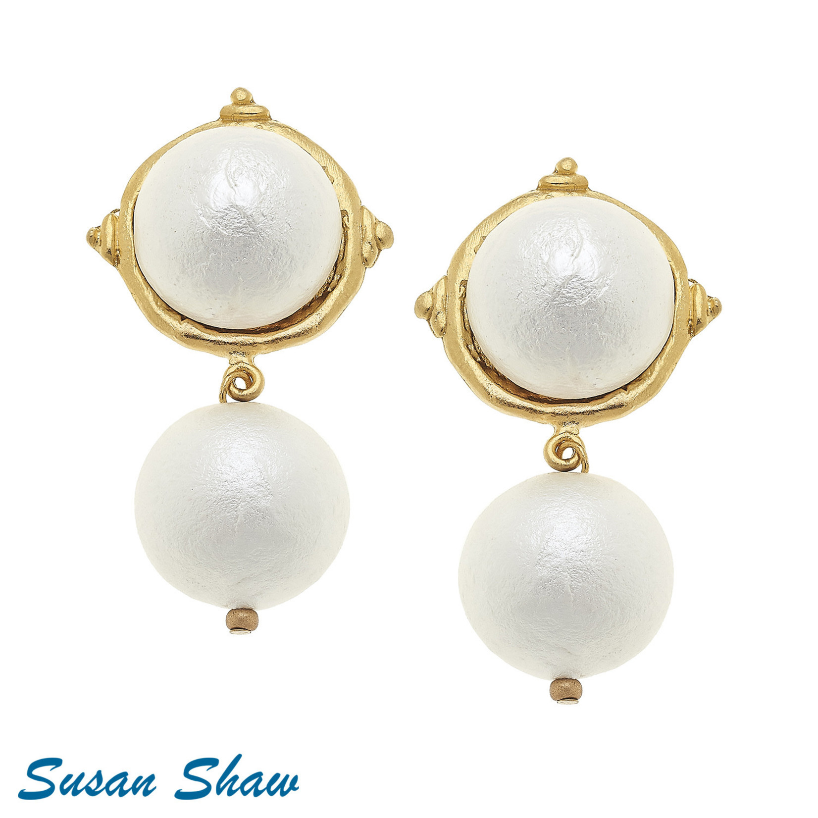 Susan Shaw Susan Shaw Clip Gold and Cotton Pearl Earrings