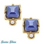 Susan Shaw Susan Shaw Ear Gold Freshwater Pearl & Blue Crystal Earrings