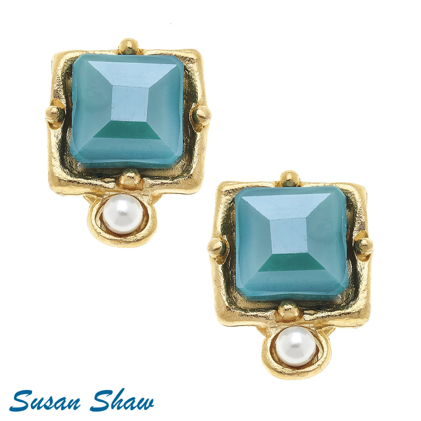 Susan Shaw SSH-1112T-Gold Freshwater Pearl & Teal Crystal Earrings