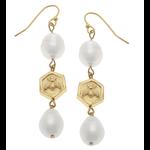 Susan Shaw Susan Shaw Gold Bee Bead & Freshwater Pearl Earrings