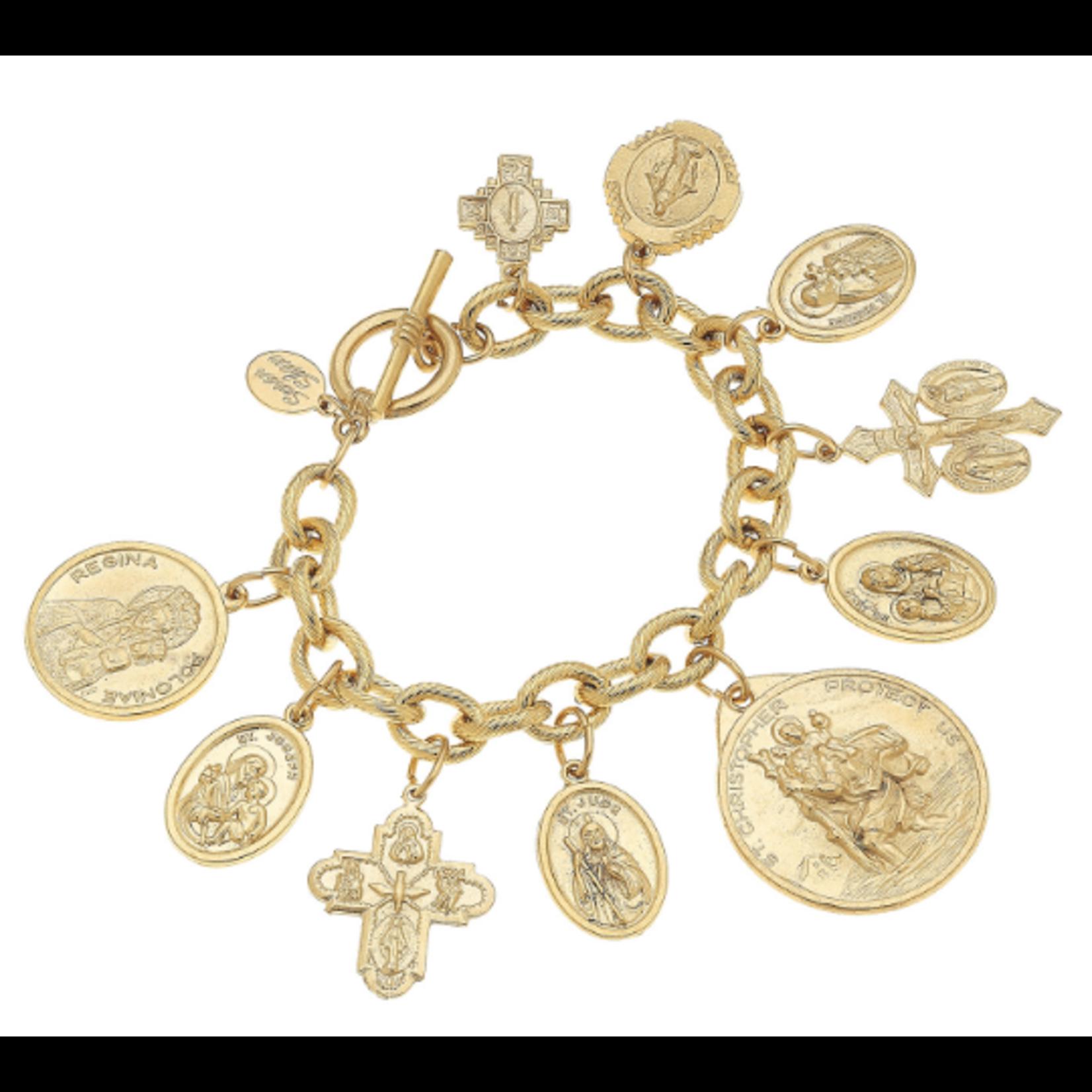 Susan Shaw Susan Shaw Gold Saints Charm Bracelet