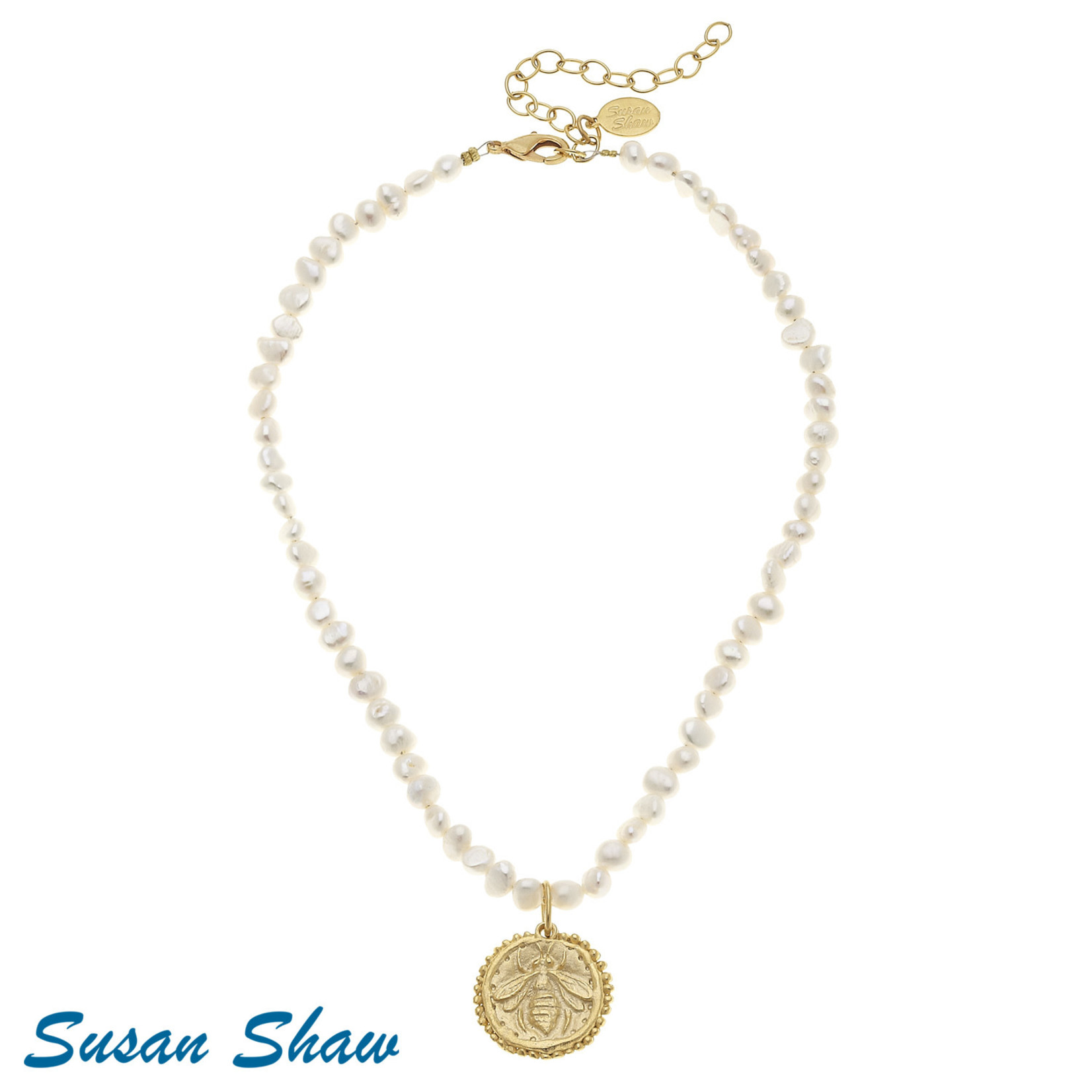 Susan Shaw Susan Shaw Gold Bee on Pearl Necklace