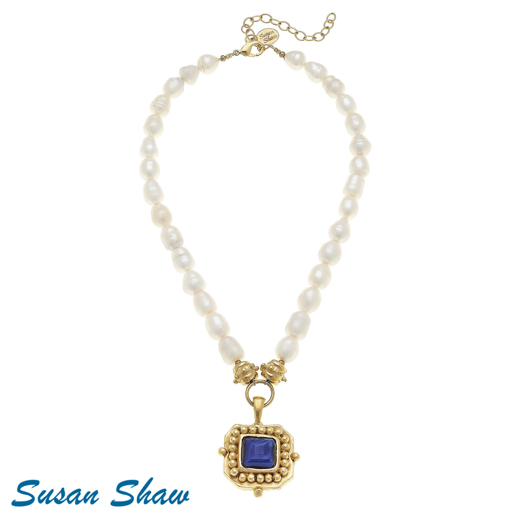 Susan Shaw Susan Shaw Gold Blue Crystal Pendant on Pearl Necklace