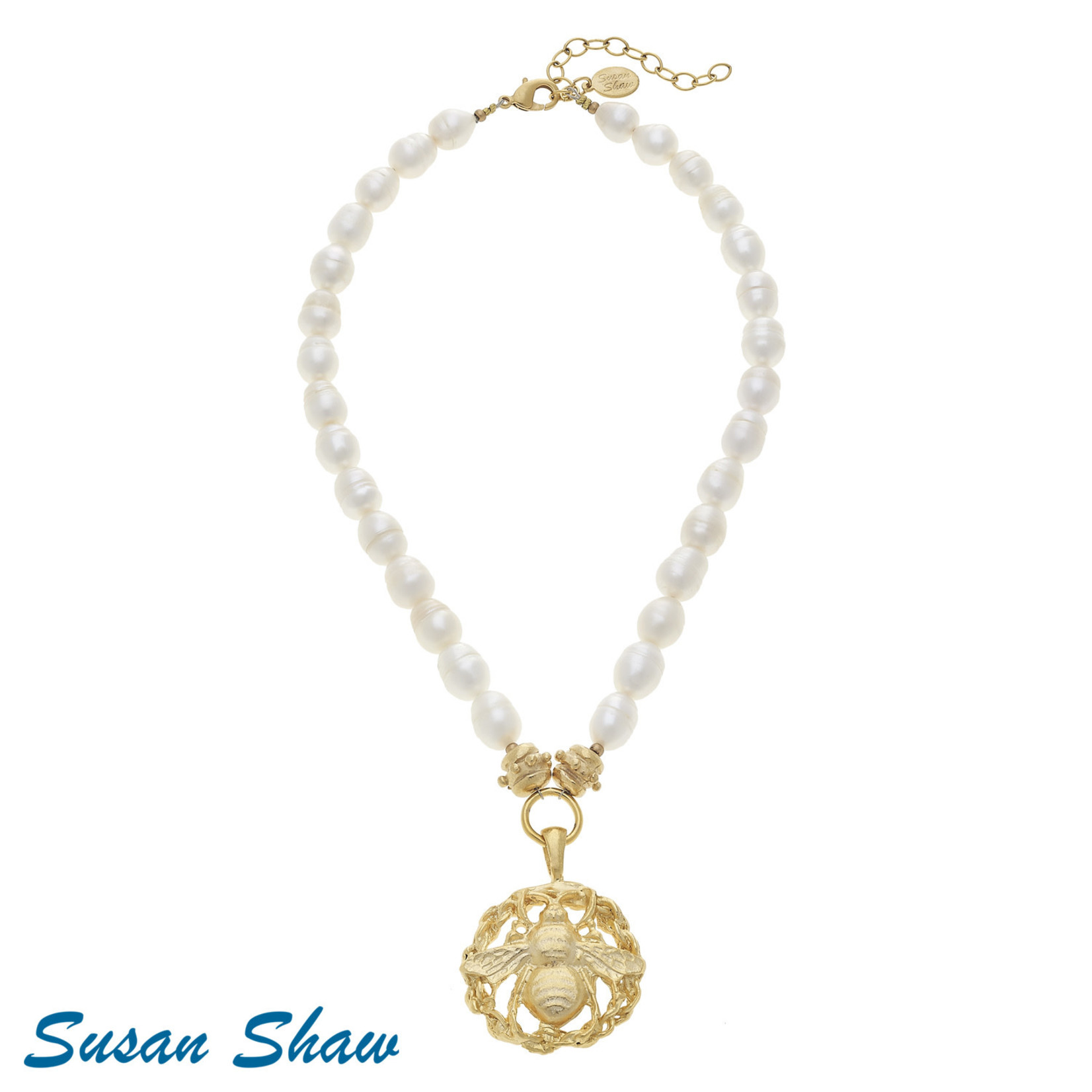 Susan Shaw Susan Shaw Bee Pendant on Pearl Necklace
