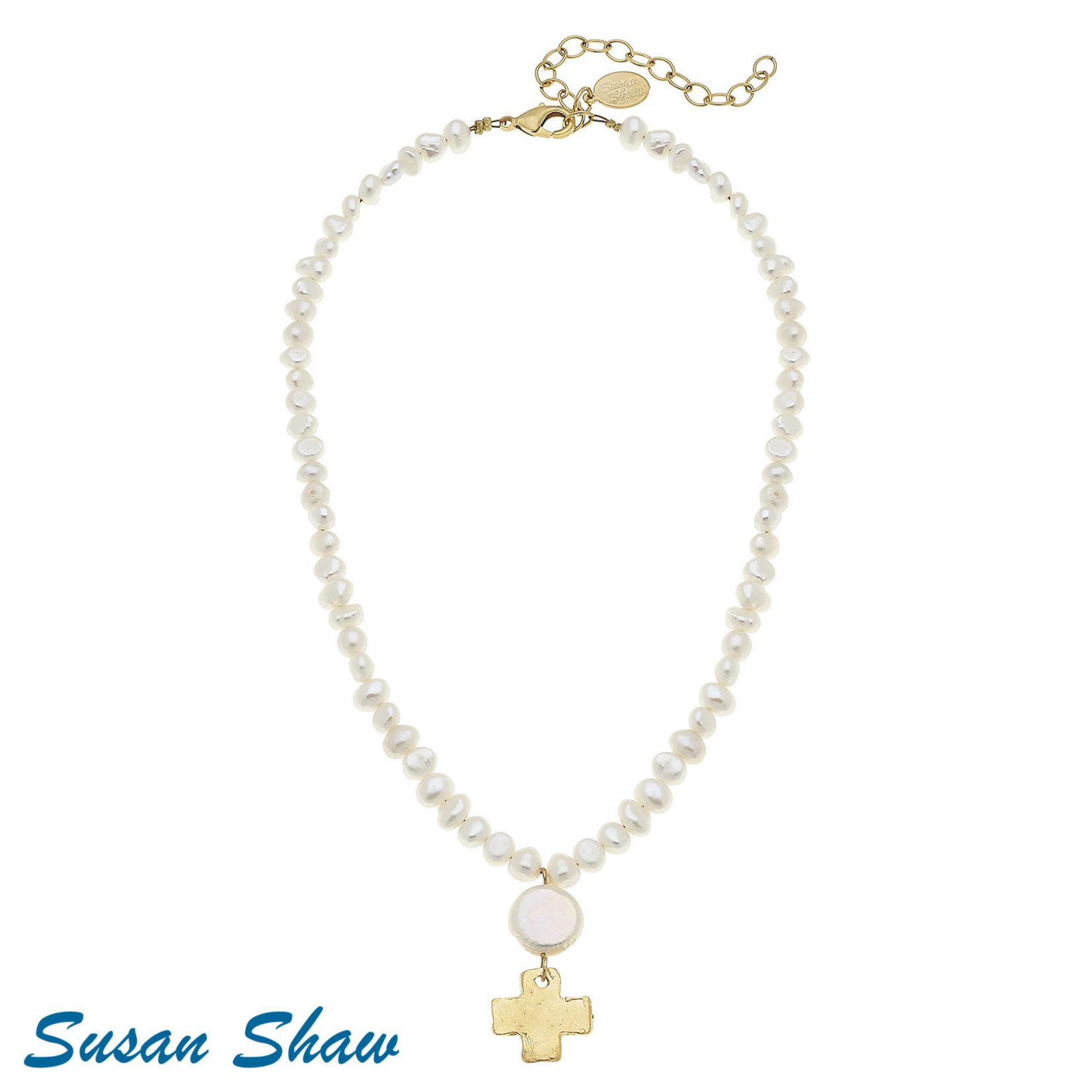 Susan Shaw Susan Shaw Gold Cross on White Pearl Necklace
