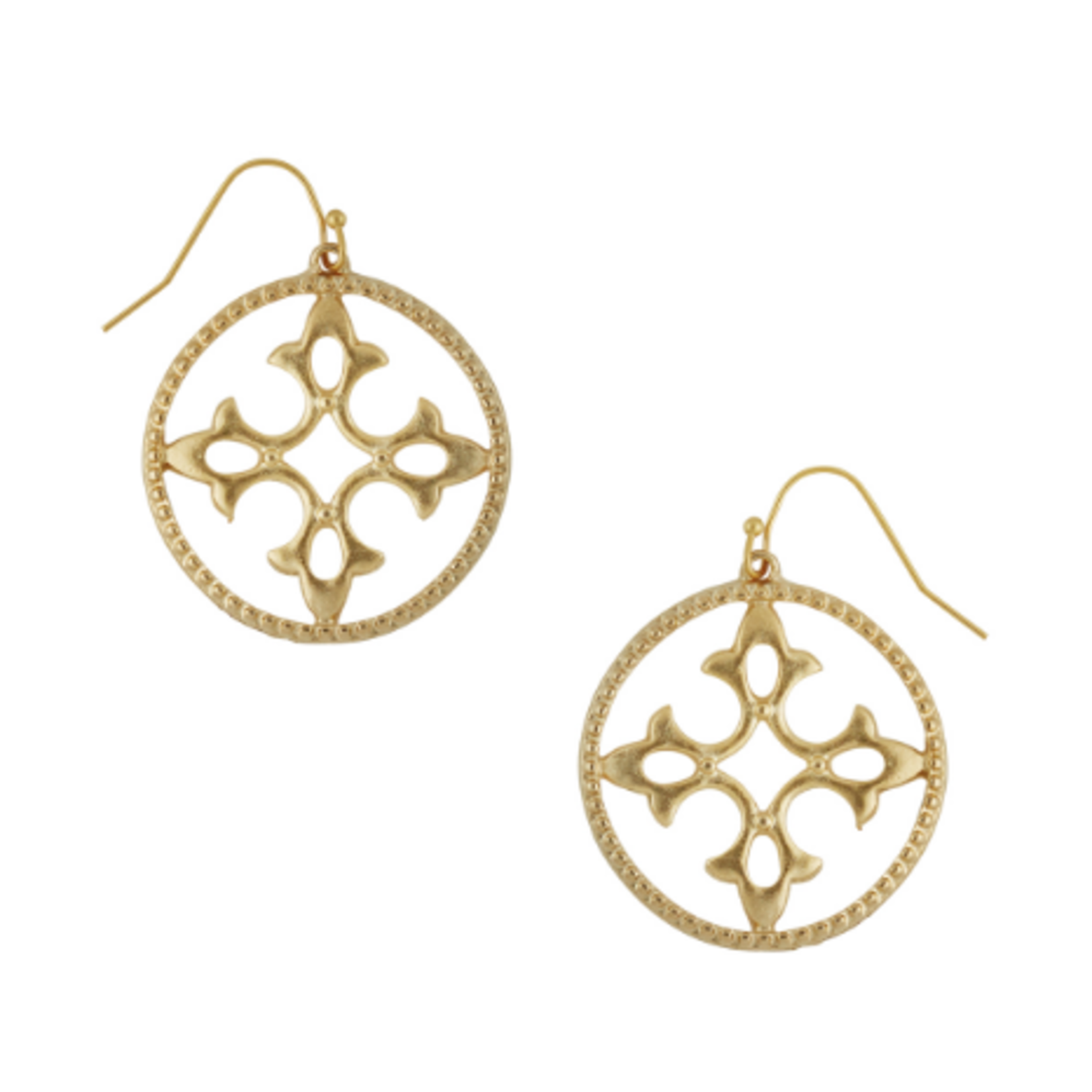 Susan Shaw Susan Shaw Gold Round Cut-Out Wire Earrings