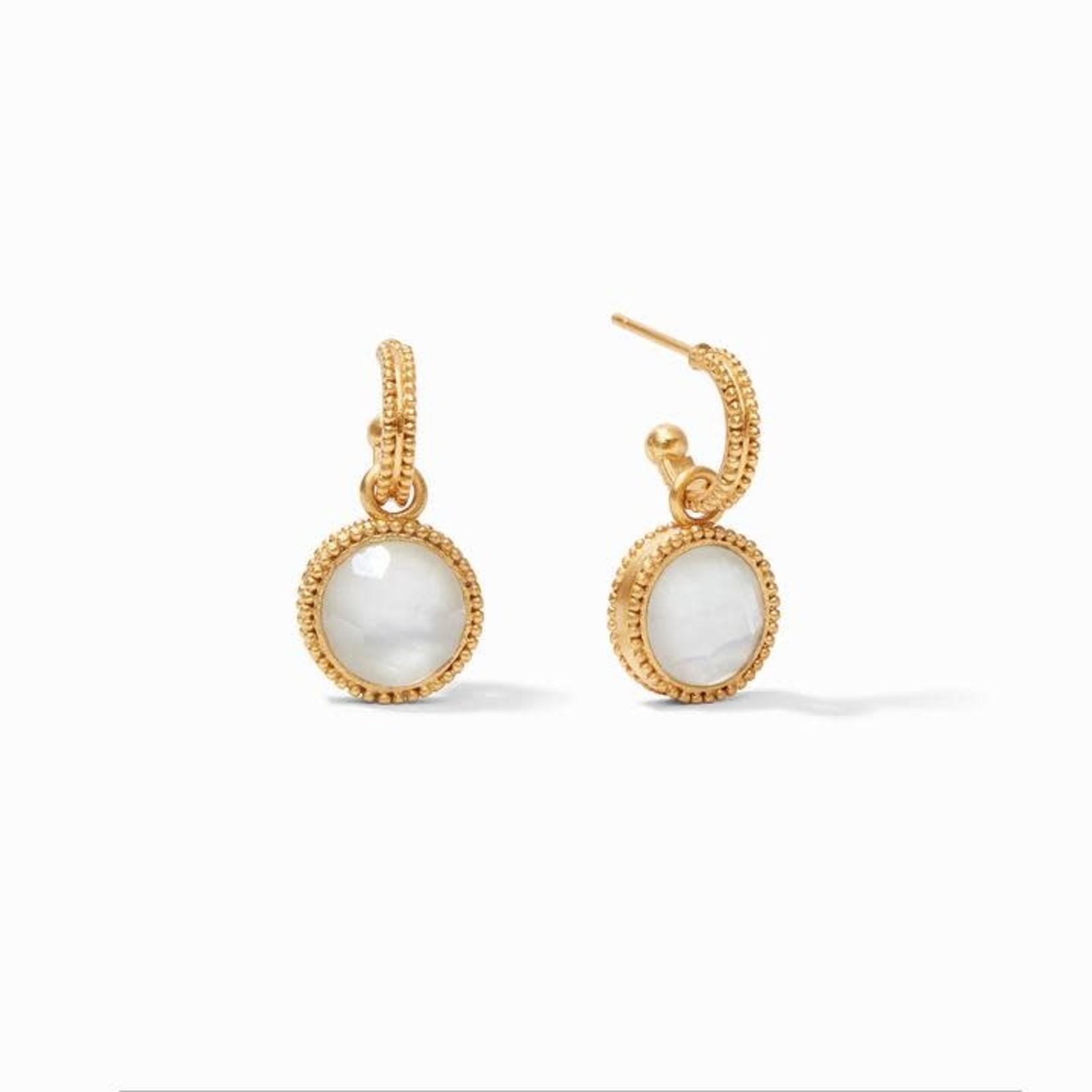 Julie Vos Fleur-de-Lis Hoop & Charm Earring - Iridescent Clear Crystal Reversible