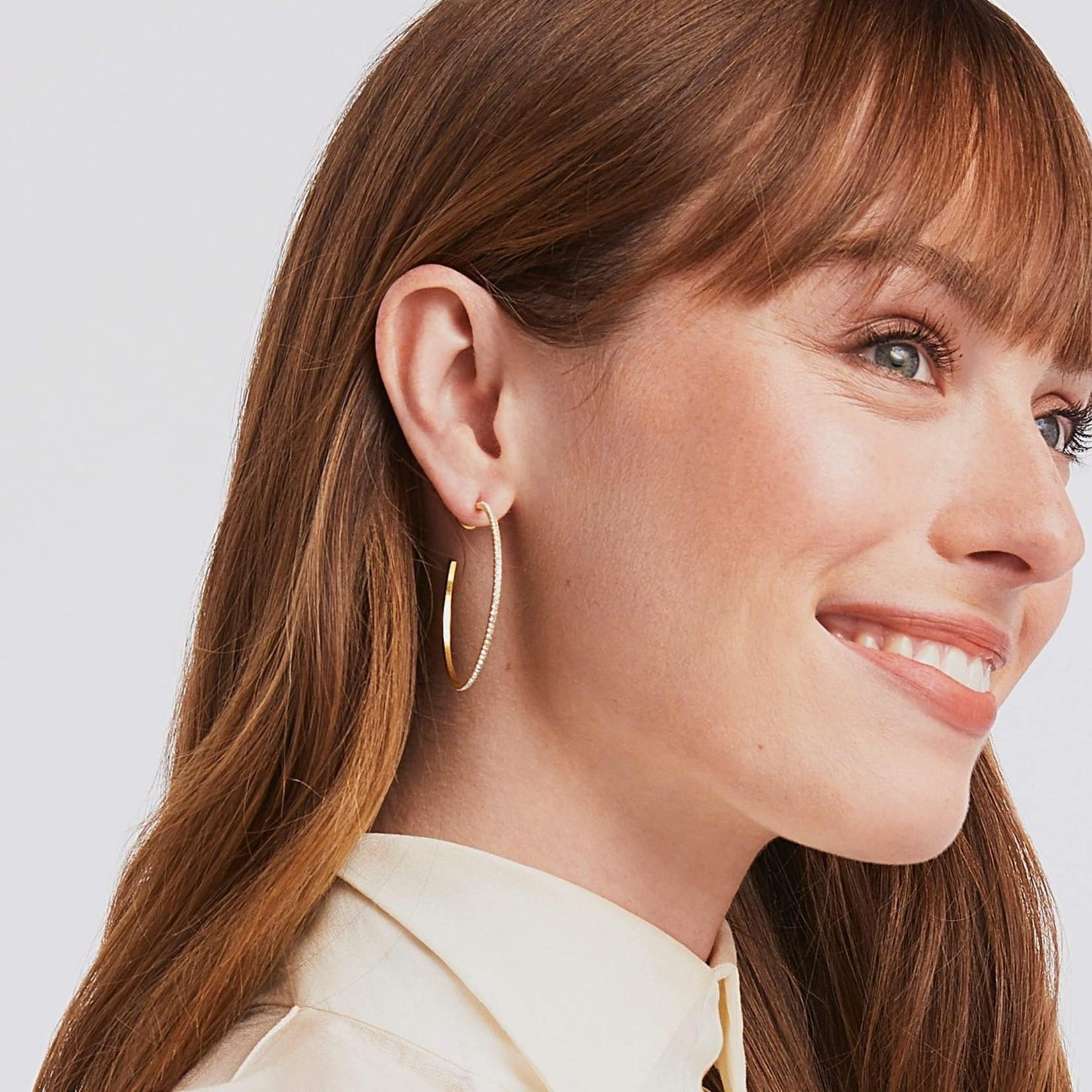 Julie Vos Windsor Hoop - Crystal - Large