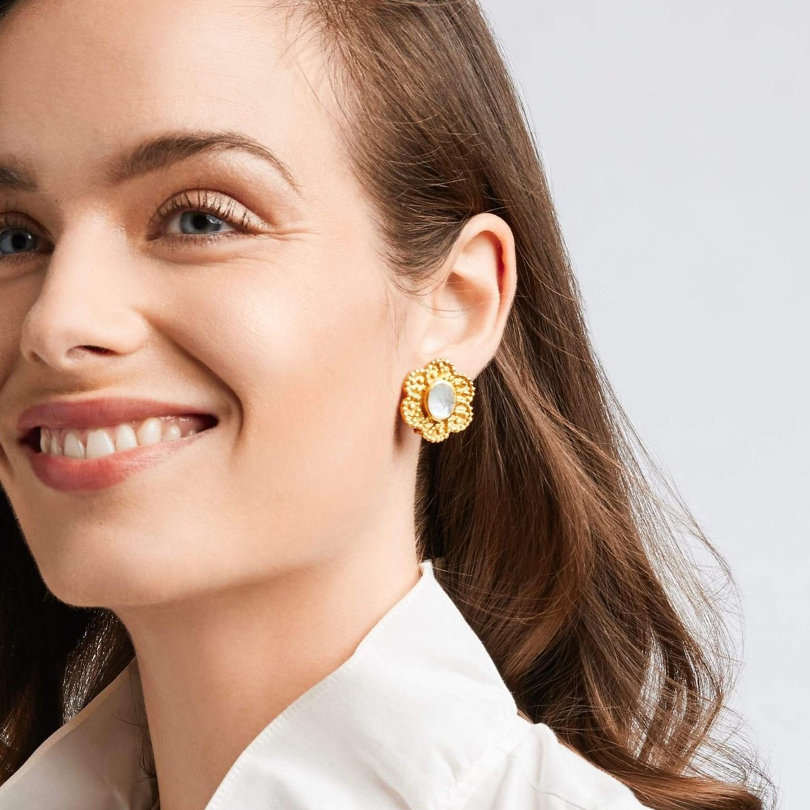 Julie Vos Colette Clip-On Flower Pearl Earring