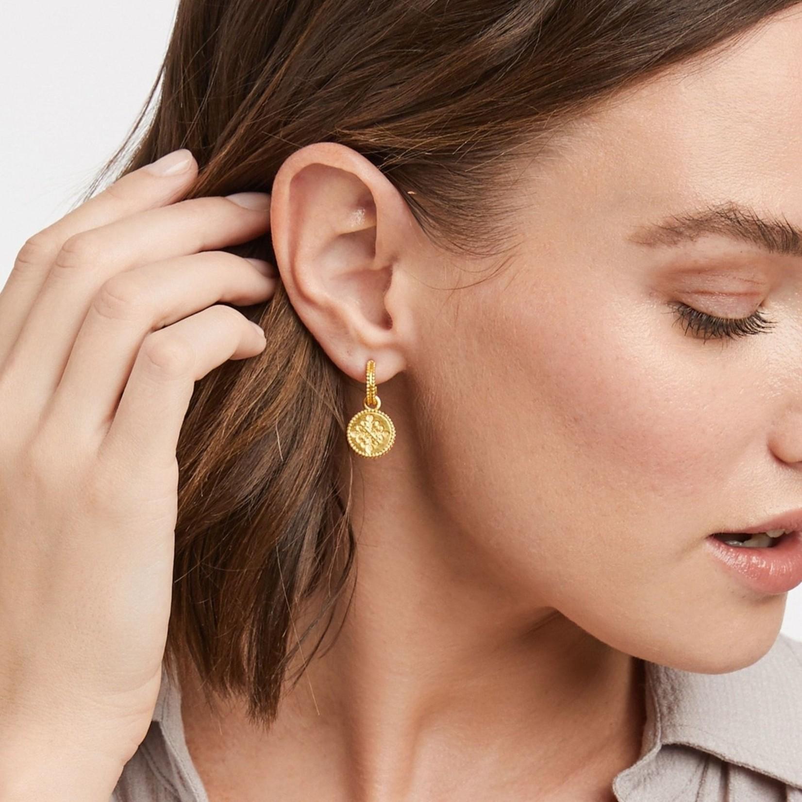 Julie Vos Fleur-de-Lis Hoop & Charm Earring - Iridescent Bahamian Blue Reversible