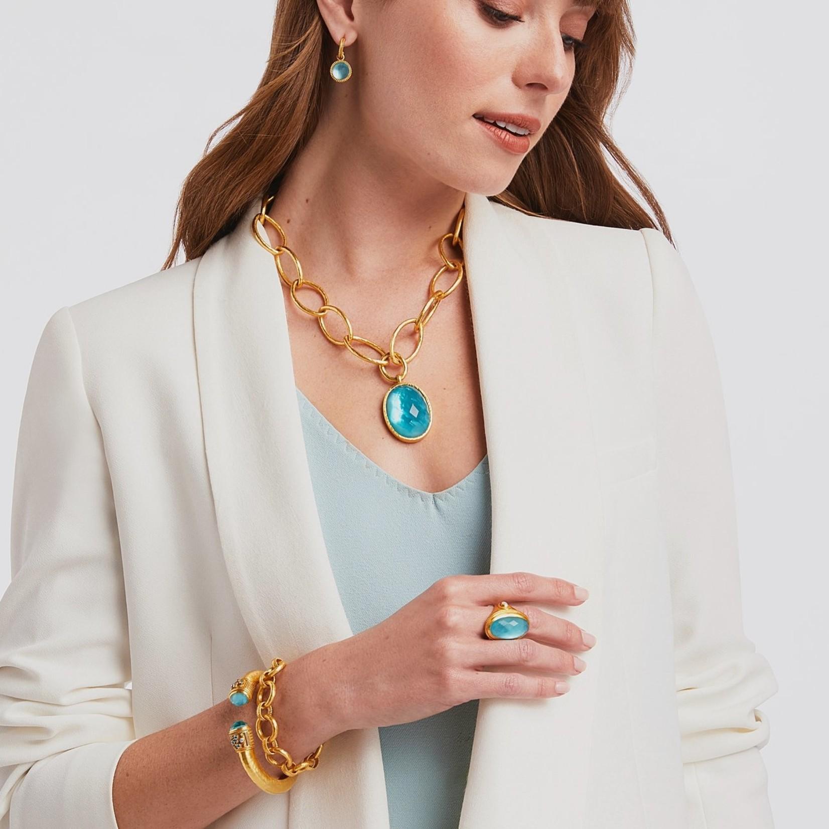 Julie Vos Paris Demi Luxe Hinge Cuff - Iridescent Bahamian Blue w/ Cz Accents