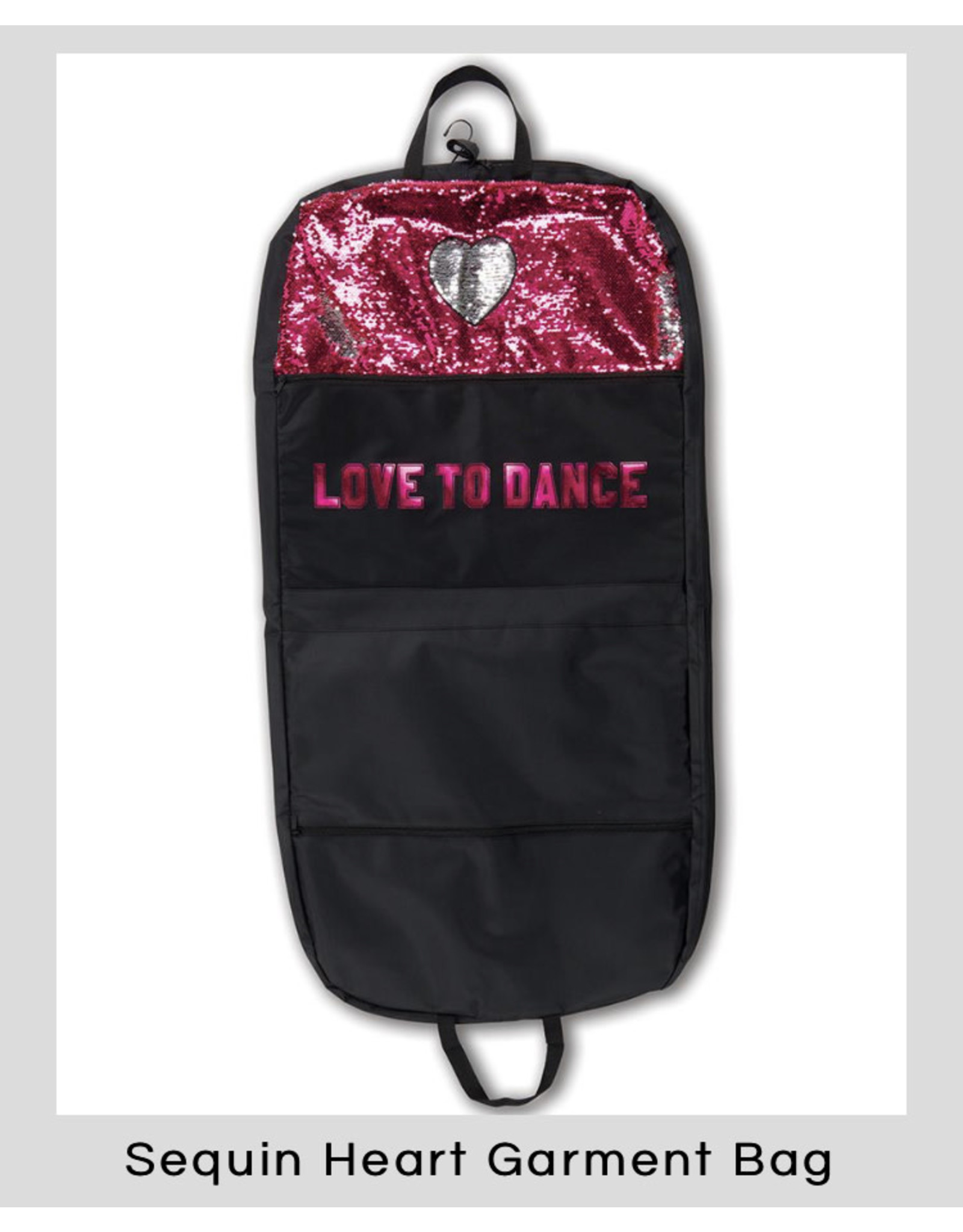 Danshuz Danznmotion sequin heart garment bag