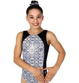 Snowflake Bizzare Black and White Gymnastics Leotard