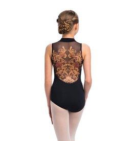 Ainsliewear Girls Zip Front Leotard with Grand Elegance Print
