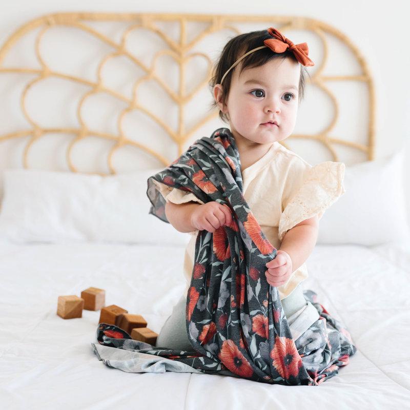 Copper Pearl Poppy Knit Swaddle Blanket