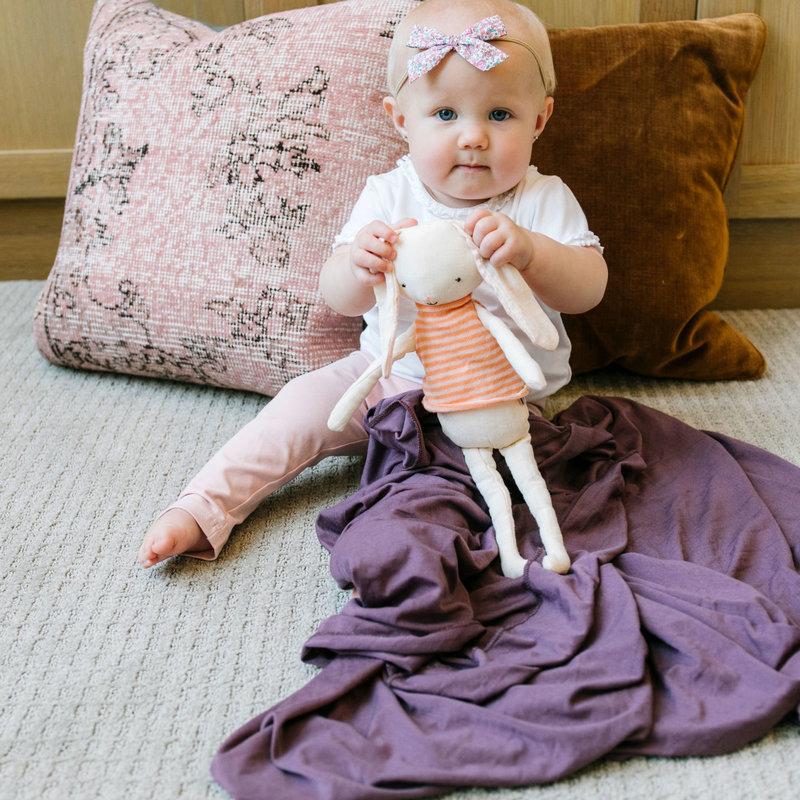 Copper Pearl Plum Knit Swaddle Blanket