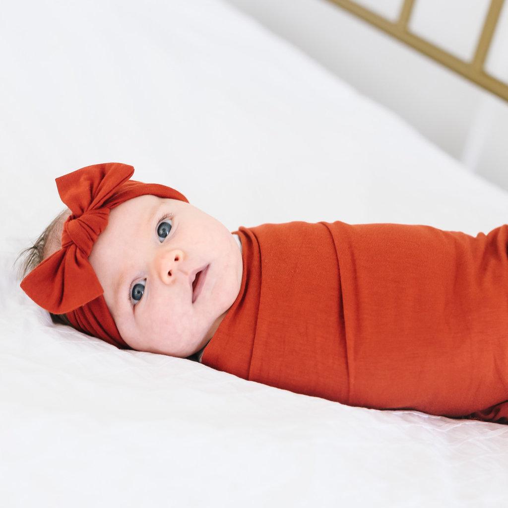Copper Pearl Rust Knit Swaddle Blanket