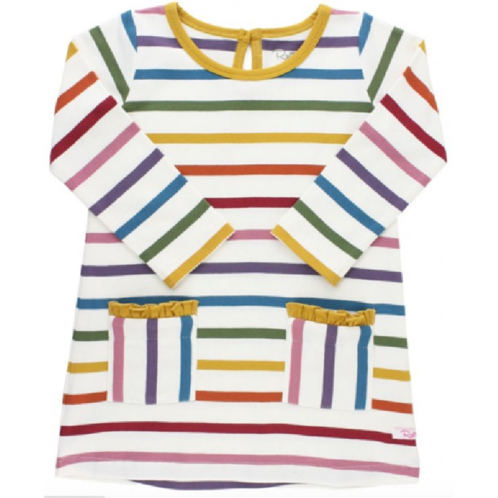 RuffleButts Harvest Rainbow Stripe Pocket Dress