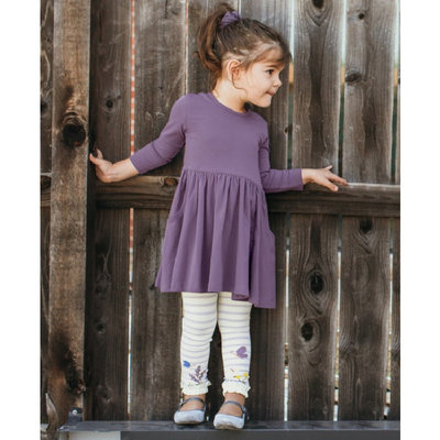 RuffleButts Shadow Purple Twirl Dress