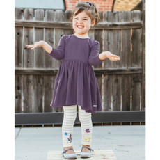 RuffleButts Lilac & Ivory Stripe Floral Tights