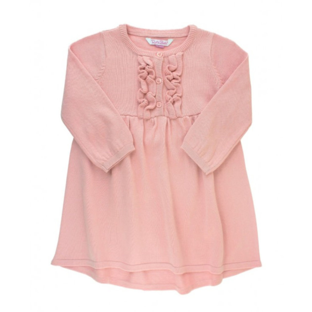 RuffleButts Ballet Pink Ruffle Sweater Dress